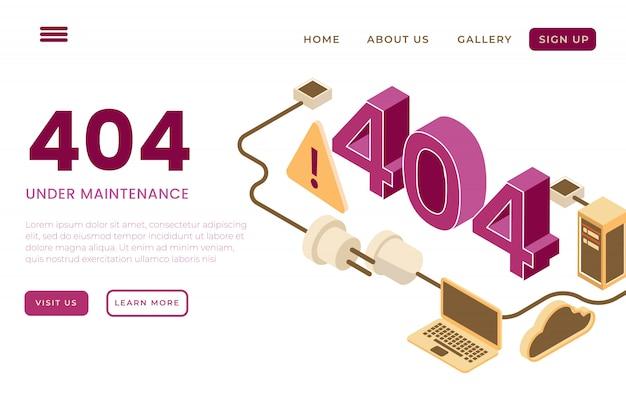 Ilustración de la página de error, página de error 404 con el concepto de páginas de inicio isométricas y encabezados web, en la página web de construcción