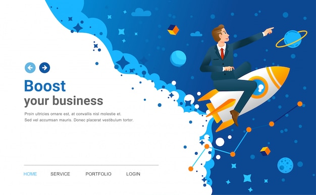 Ilustración de la página de inicio de inicio con el hombre montando el cohete con el espacio exterior