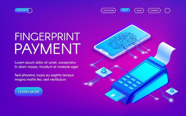 Ilustración de pago por huella digital de tecnología de pago seguro con autenticación personal.