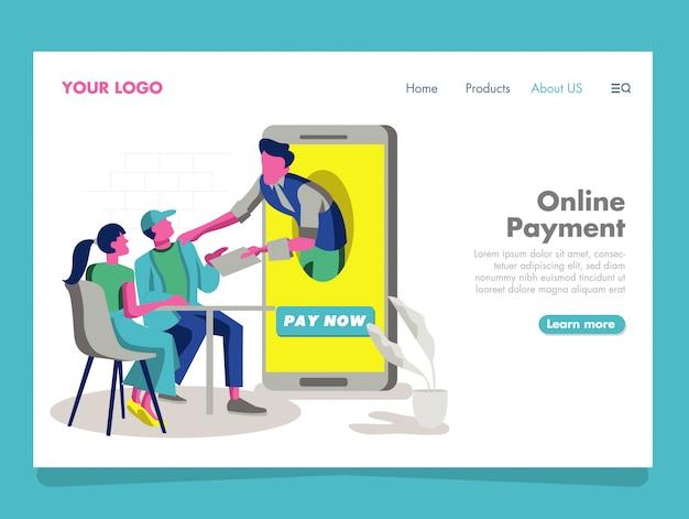 Ilustración de pago en línea para la página de destino