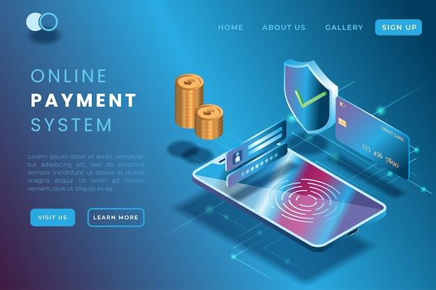 Ilustración de pago en línea utilizando gadgets y tarjetas de crédito en la ilustración isométrica 3d