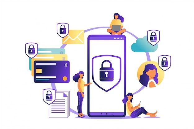 Ilustración de pago móvil en línea