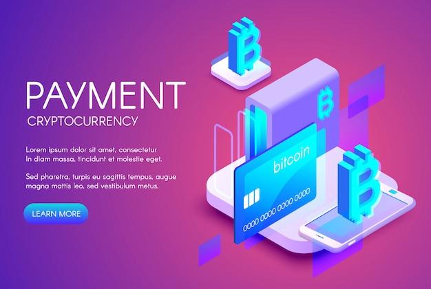 Ilustración de pago con tarjeta de bitcoin de comercio de criptomoneda o tecnología de banca digital