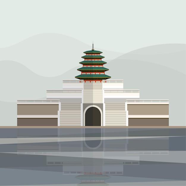 Ilustración de la pagoda del palacio de gyeongbokgung