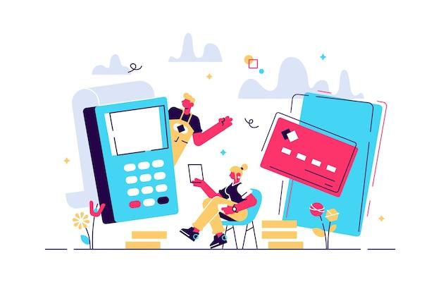 Ilustración de pagos en línea y móviles.