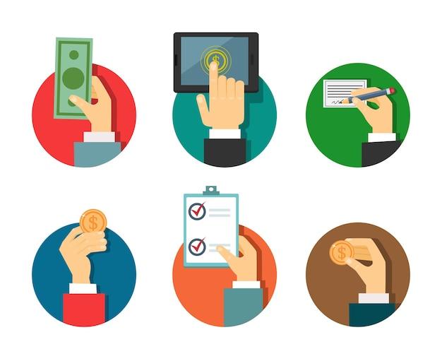 Ilustración de pagos con las manos en un estilo moderno plano.