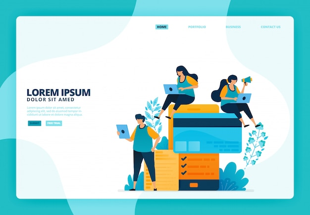 Ilustración de pagos móviles y con tarjeta de crédito. para el sitio web de la página de destino