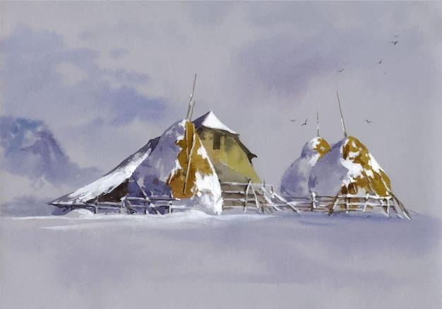 Ilustración de paisaje de acuarela de decoraciones de árbol de navidad