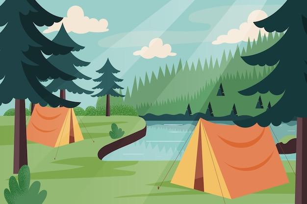 Ilustración de paisaje de área de campamento con carpas y río