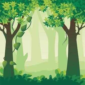 Ilustración de paisaje de bosque hermoso