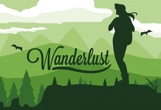 Ilustración paisaje bosque con viajero wanderlust