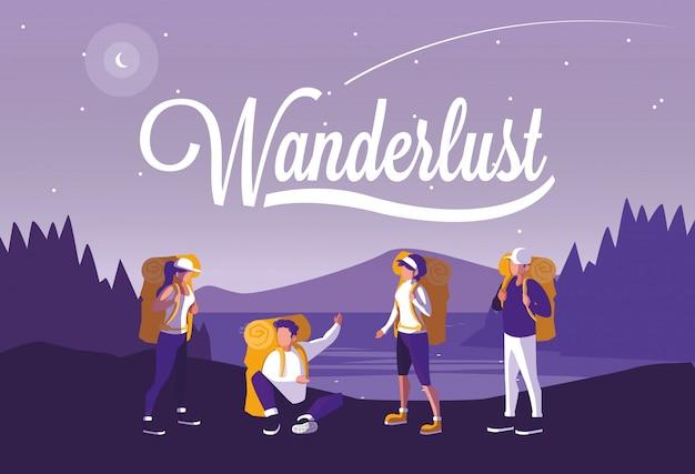 Ilustración paisaje bosque con viajeros wanderlust
