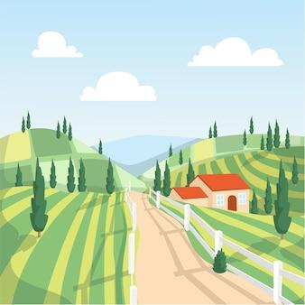 Ilustración de paisaje de campo