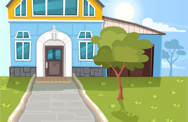 Ilustración de paisaje con casa en dibujos animados.