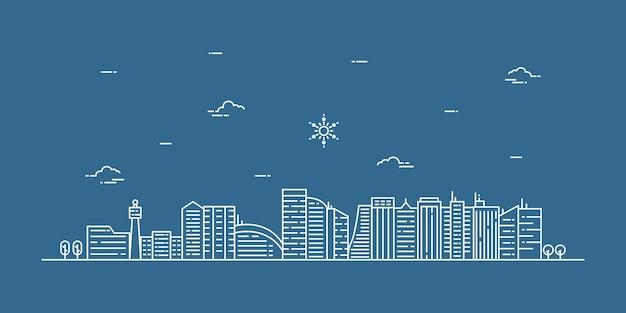 Ilustración de paisaje de la ciudad con un estilo de línea fina. paisaje de la ciudad de delgada línea.