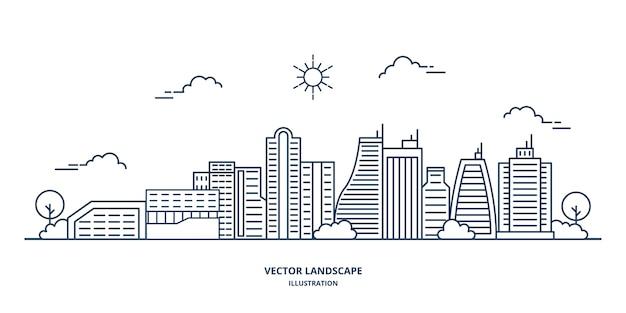 Ilustración de paisaje de la ciudad con un estilo de línea fina.