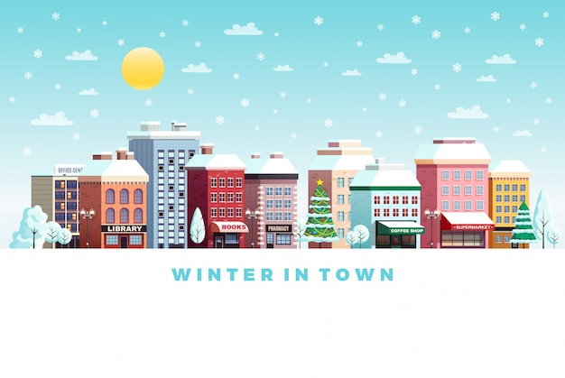Ilustración de paisaje de la ciudad de invierno