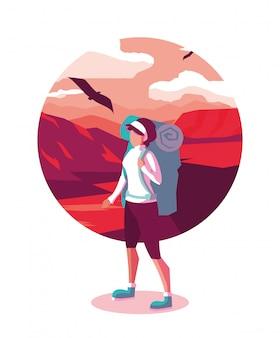 Ilustración paisaje desierto con viajero wanderlust