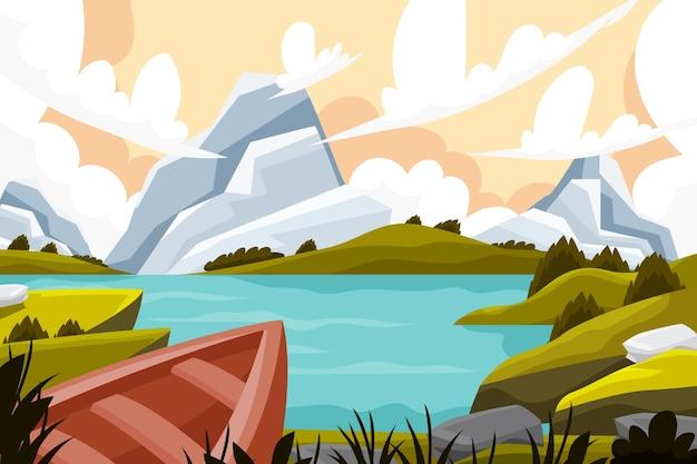 Ilustración de paisaje de diseño plano