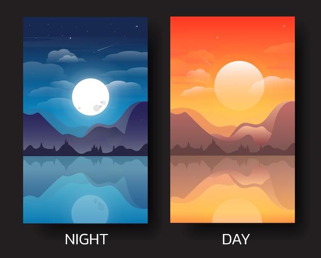 Ilustración de paisaje diurno y nocturno.