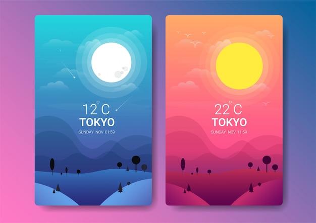 Ilustración de paisaje diurno y nocturno
