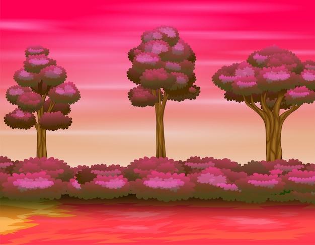 Ilustración del paisaje forestal en el cielo rosado