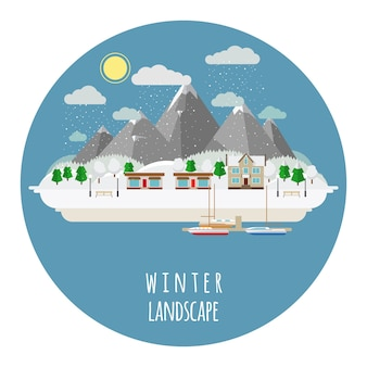 Ilustración de paisaje de invierno plano con ciudad cubierta de nieve. sol y cielo, montañas y casa