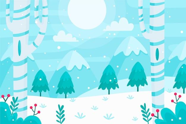 Ilustración de paisaje de invierno plano