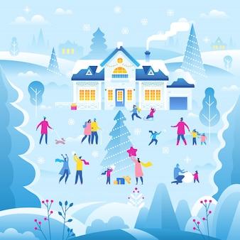 Ilustración de paisaje de invierno