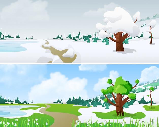 Ilustración del paisaje de invierno