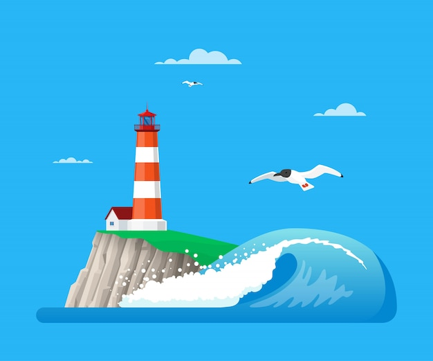 Ilustración de paisaje marino con faro en estilo plano