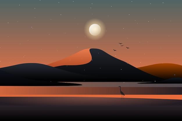 Ilustración de paisaje de montaña y cielo nocturno estrellado