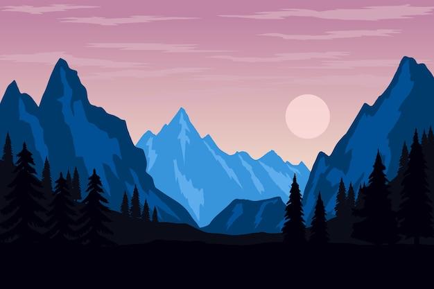 Ilustración del paisaje de montaña con estilo. elemento de cartel, volante, presentación, folleto. imagen
