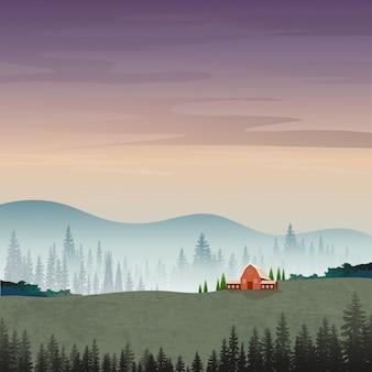 Ilustración del paisaje de montaña con siluetas de pinos brumosos en el bosque.