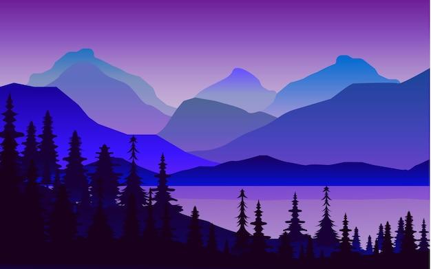 Ilustración del paisaje de montañas cerca del lago y el bosque