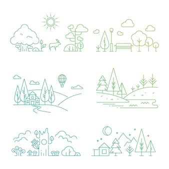 Ilustración de paisaje de naturaleza con árbol, plantas, montañas, río