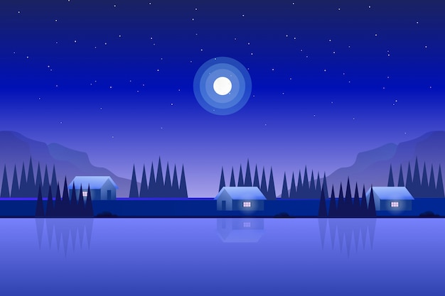 Ilustración de paisaje de naturaleza de casa con bosque de pinos con cielo estrellado