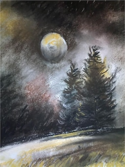 Ilustración de paisaje de naturaleza de pintura de acuarela