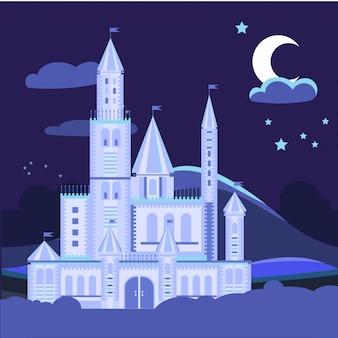 Ilustración de paisaje nocturno con castillo plano