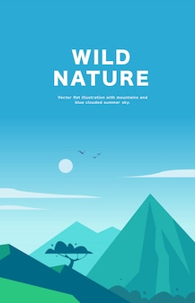 Ilustración de paisaje plano de verano con montañas, sol, árbol y azul cielo nublado.