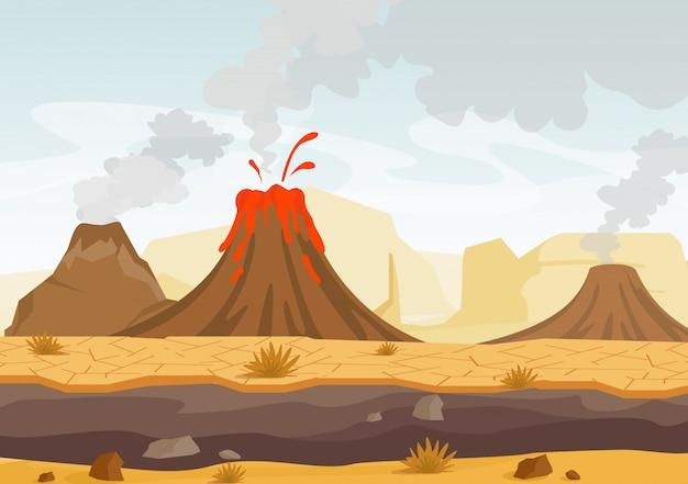 Ilustración del paisaje prehistórico con erupción volcánica, lava y cielo humeante, paisaje con montañas y volcanes