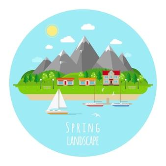 Ilustración de paisaje de primavera plana con colinas verdes. floración y primavera, sol cálido y cielo azul.