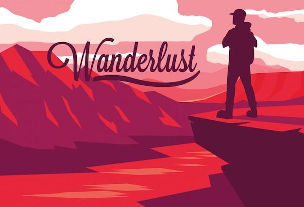 Ilustración paisaje con río y viajero wanderlust