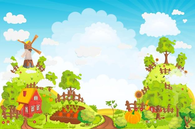 Ilustración de paisaje rural con casas, jardines, un molino, un campo y altas colinas