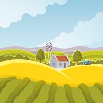 Ilustración de paisaje rural