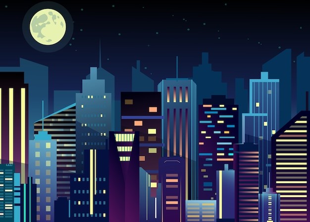 Ilustración del paisaje urbano de la ciudad nocturna