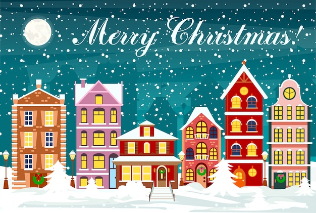 Ilustración de paisaje urbano de estilo plano con coloridas casas con nieve en la noche con cielo y luna. la ciudad en navidad.