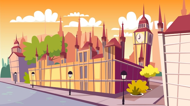 Ilustración de paisaje urbano de londres. dibujos animados de famosos lugares de londres en el día, big ben