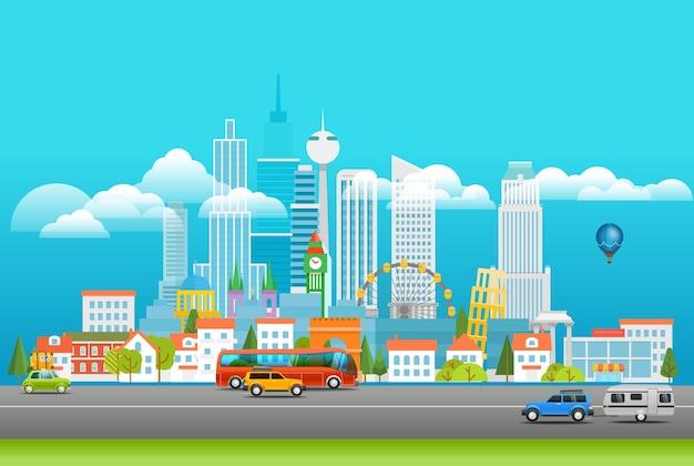 Ilustración de paisaje urbano moderno. ciudad panarama con logo