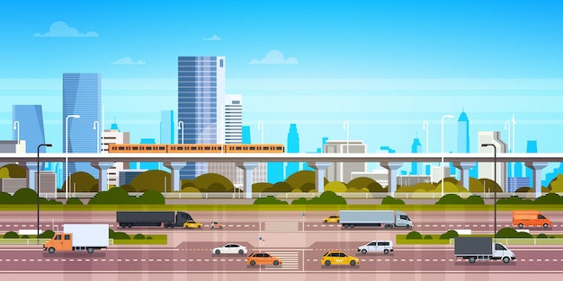 Ilustración de paisaje urbano panorama de la ciudad moderna con carretera y metro en rascacielos